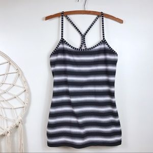 Lululemon Black Striped Power Y Tank Top
